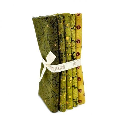 5 Fat Quarter 50 x 55 cm Verde e Giallo, Gratitude & Grace by Kim Diehl