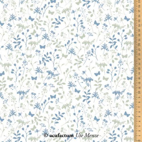 Acufactum Tessuto di cotone con Fiori e Farfalle Blu