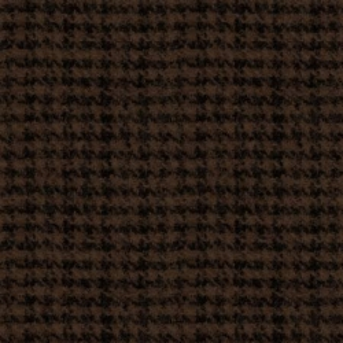 Maywood Studio Espresso Houndstooth Woolies Flannel, Tessuto Flanella Marrone e Nero