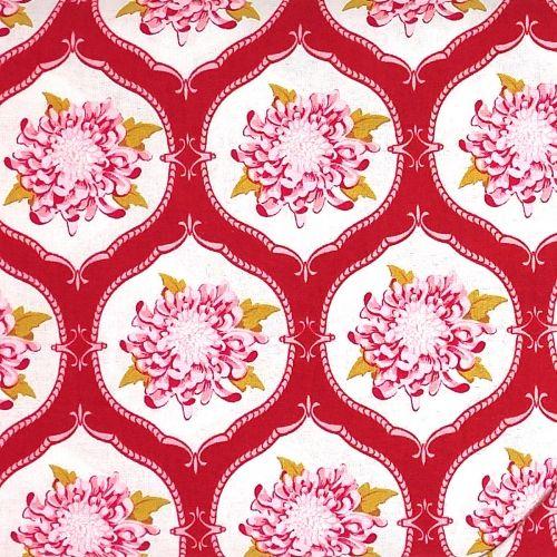 Tilda Tessuto Rosso con Peonie, 140 cm di altezza