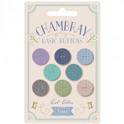 Tilda Chambray, 8 Bottoni da 16 mm Ricoperti in Tessuto Colori Freddi