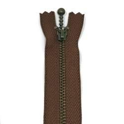 Cerniera Zip Giapponese in metallo - Marrone