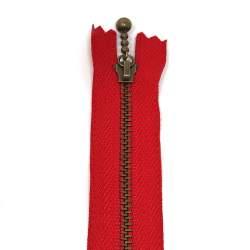 Cerniera Zip Giapponese in metallo - Rossa