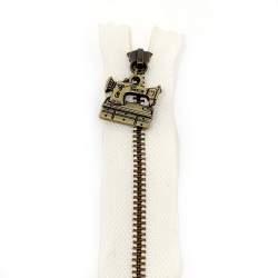 Cerniera Zip Giapponese in metallo - Bianca con Charm Macchina o Spoletta