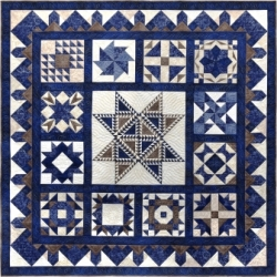 Star Spangled in Blue, Paper Pieced Block of the Month
