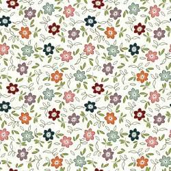 EQP New Vintage Rose Hip-Cream, Tessuto bianco panna a fiori