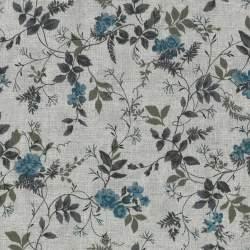 Stim Italia - Tessuto Chiaro con Fiori Azzurri e Foglie Verdi 85% cotone e 15% lino