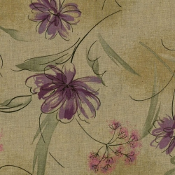 Stim Italia - Tessuto Beige con Fiori Viola e Foglie Verdi 85% cotone e 15% lino