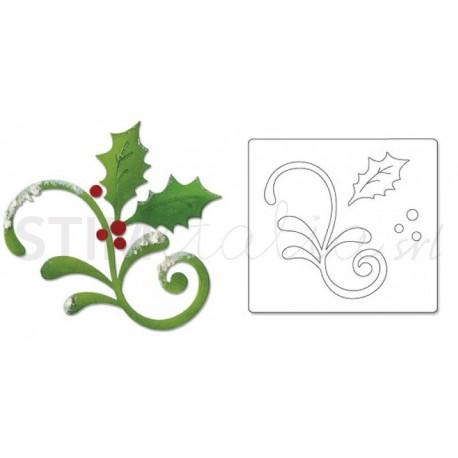 Sizzix, Bigz Die Flourish, Holly & Mistletoe
