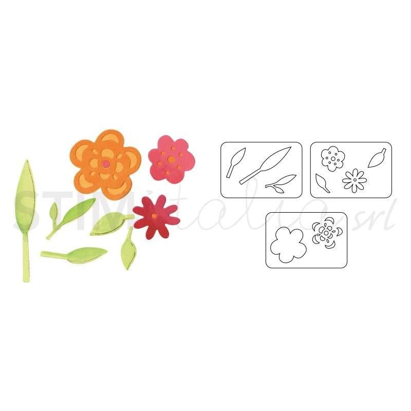 Sizzix, Sizzlits Die Set 3PK - Flowers & Leaves Set by Dena Designs