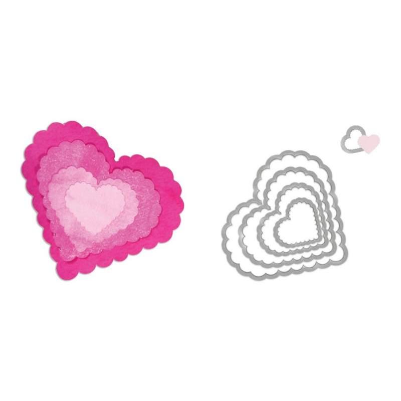 Sizzix, Framelits Die Set 5PK Hearts, Scallop