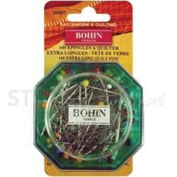 Bohin, Spilli con Testa di Vetro per Patchwork e Quilting, colori assortiti da 0,80 mm - 100pz