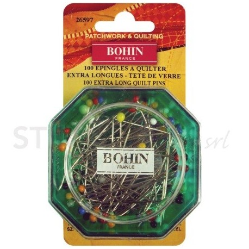 Bohin, Spilli con Testa di Vetro per Patchwork e Quilting, colori assortiti da 0,80 mm - 100pz Bohin - 1