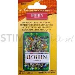 Bohin, Spilli Super Fini con Testa di Vetro per Applique da 20 x 0,55 mm - 150pz