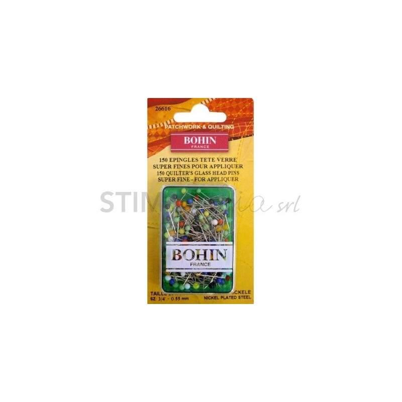 Bohin, Spilli Super Fini con Testa di Vetro per Applique da 20 x 0,55 mm - 150pz Bohin - 1