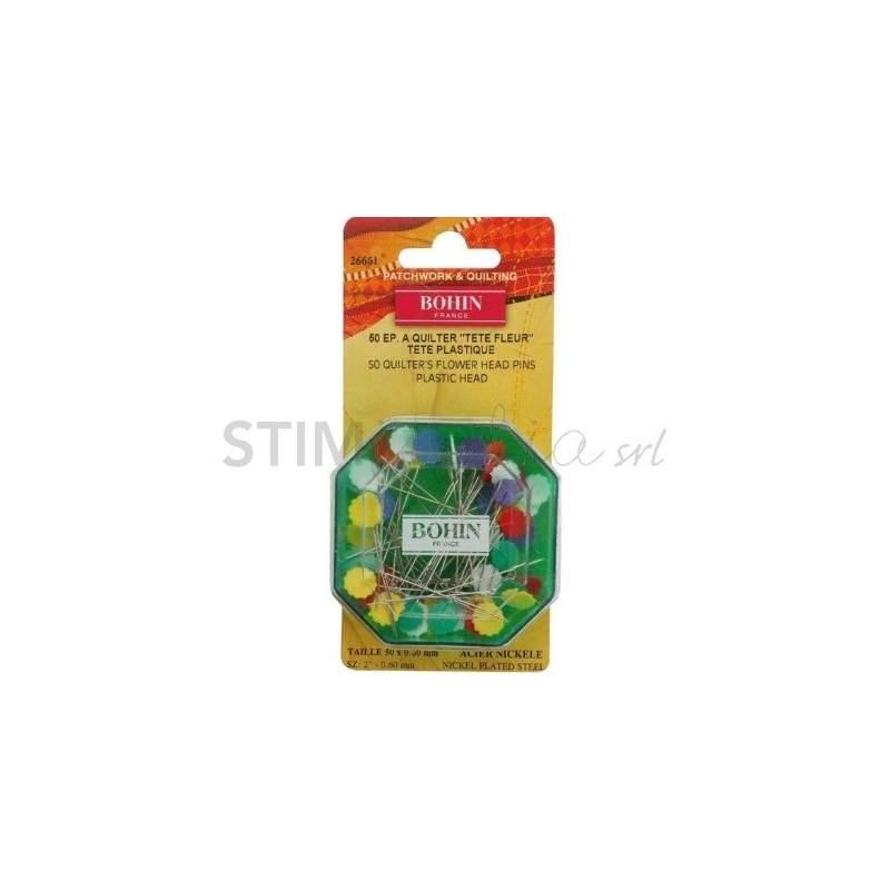 Bohin, Spilli con Testa a Fiore per Patchwork e Quilting, colori assortiti da 0,65 mm - 50pz