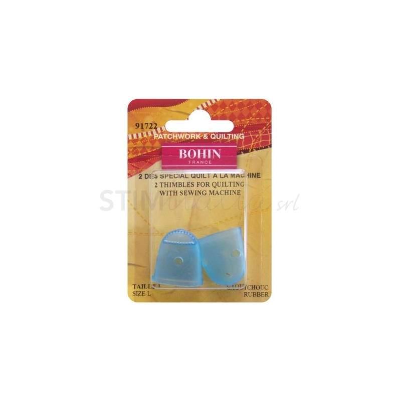 Bohin, Ditale per Quilting a Macchina in Silicone - 2x Blu misura L Bohin - 1