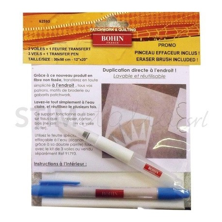 Bohin, Carta Magic Paper Lavabile e Riutilizzabile da 30 x 50 cm - 3pz + Pennarello Idrosolubile e Cancellino