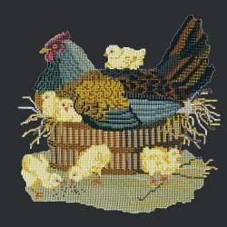Elizabeth Bradley, Victorian Animals, MOTHER HEN - 16x16 pollici