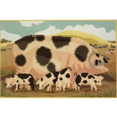 Elizabeth Bradley, Beasts of the Field, GLOUCESTER OLD SPOT SOW WITH HER PIGLETS - 20x13 pollici
